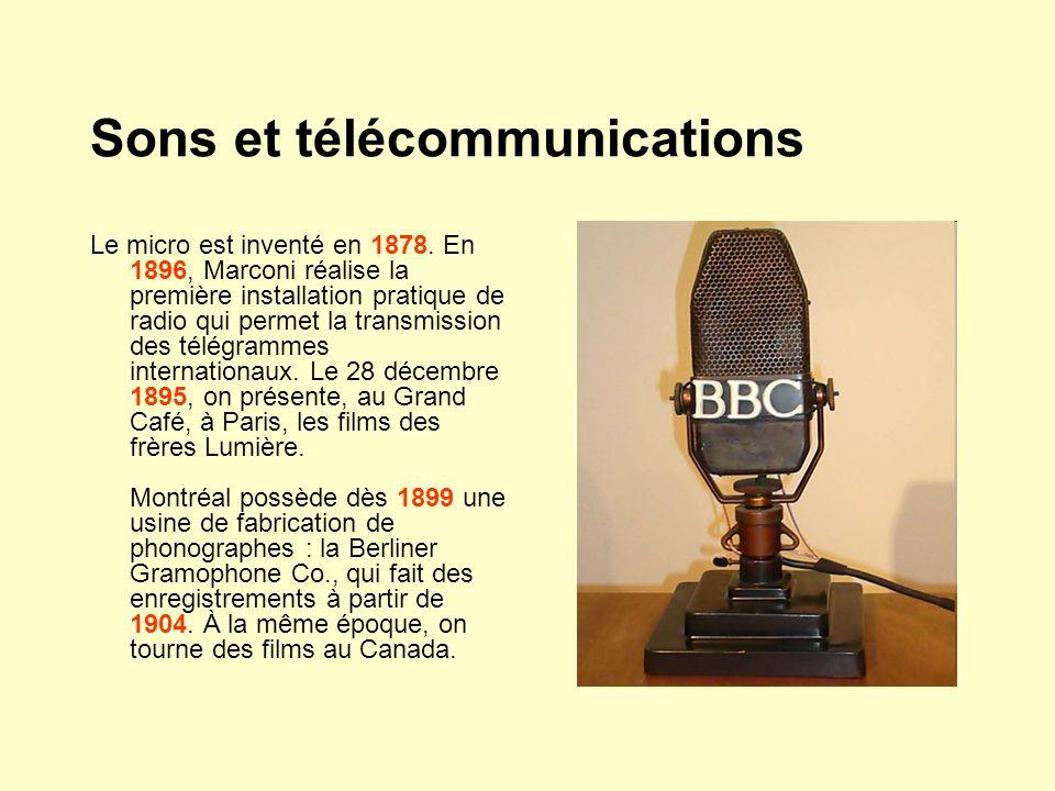 Sons et télécommunications Le micro est inventé en 1878. En 1896, Marconi réalise la première installation pratique de radio qui permet la transmissio