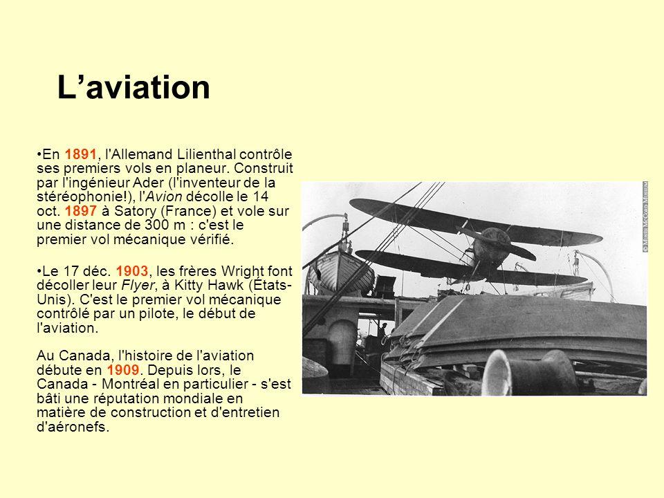 Laviation En 1891, l'Allemand Lilienthal contrôle ses premiers vols en planeur. Construit par l'ingénieur Ader (l'inventeur de la stéréophonie!), l'Av