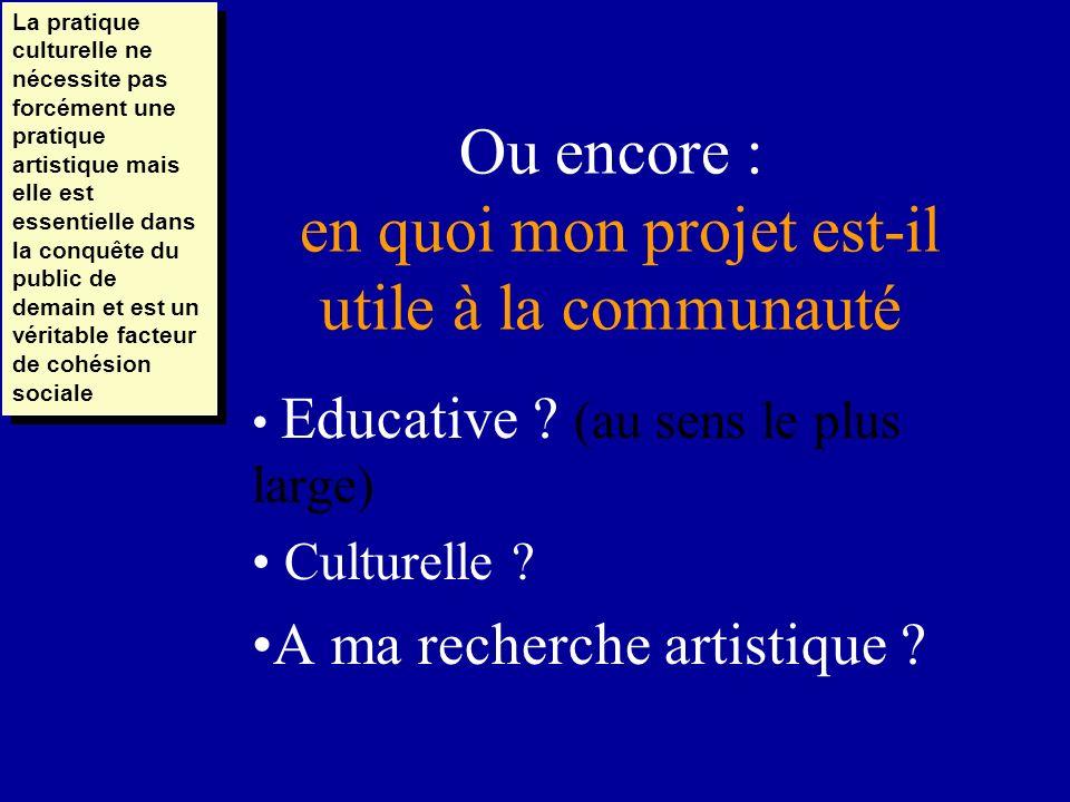Ou encore : en quoi mon projet est-il utile à la communauté Educative ? (au sens le plus large) Culturelle ? A ma recherche artistique ? La pratique c