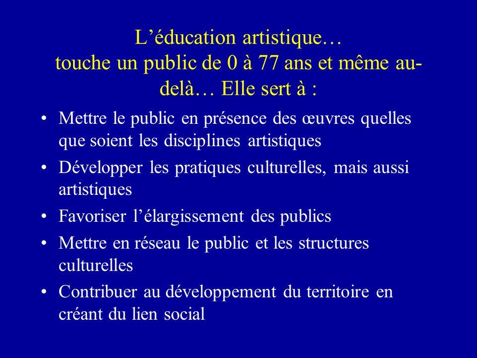 Léducation artistique… touche un public de 0 à 77 ans et même au- delà… Elle sert à : Mettre le public en présence des œuvres quelles que soient les d