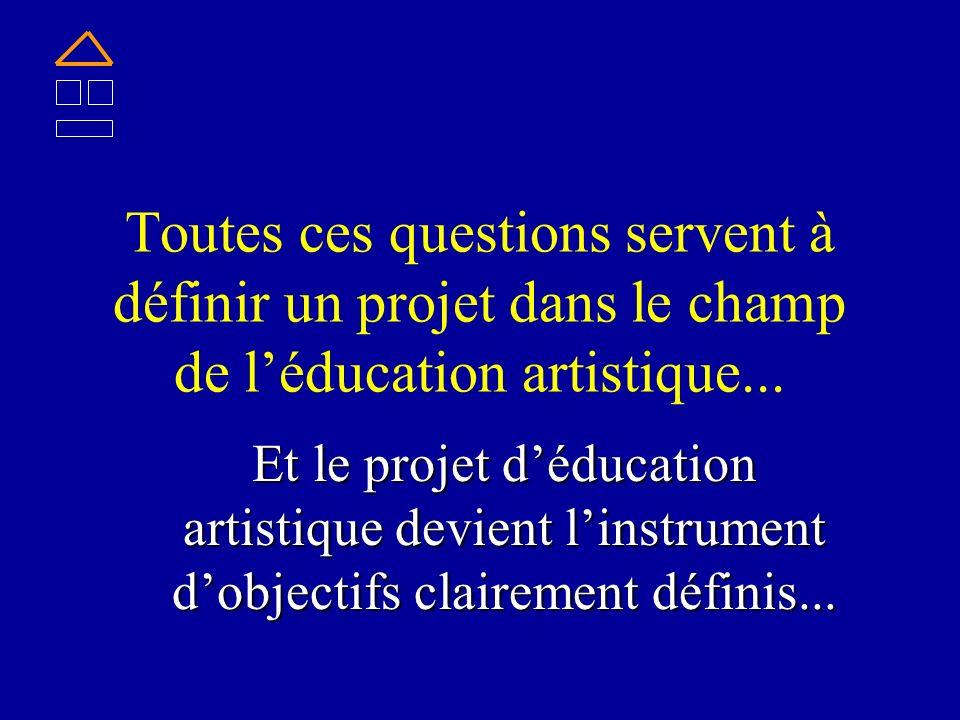 Toutes ces questions servent à définir un projet dans le champ de léducation artistique... Et le projet déducation artistique devient linstrument dobj