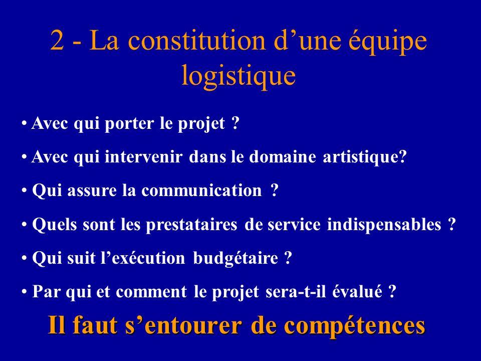 2 - La constitution dune équipe logistique Il faut sentourer de compétences Avec qui porter le projet ? Avec qui intervenir dans le domaine artistique