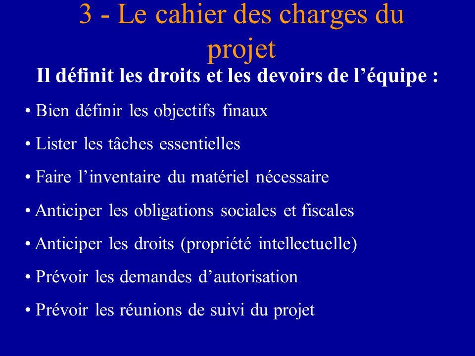 3 - Le cahier des charges du projet Il définit les droits et les devoirs de léquipe : Bien définir les objectifs finaux Lister les tâches essentielles