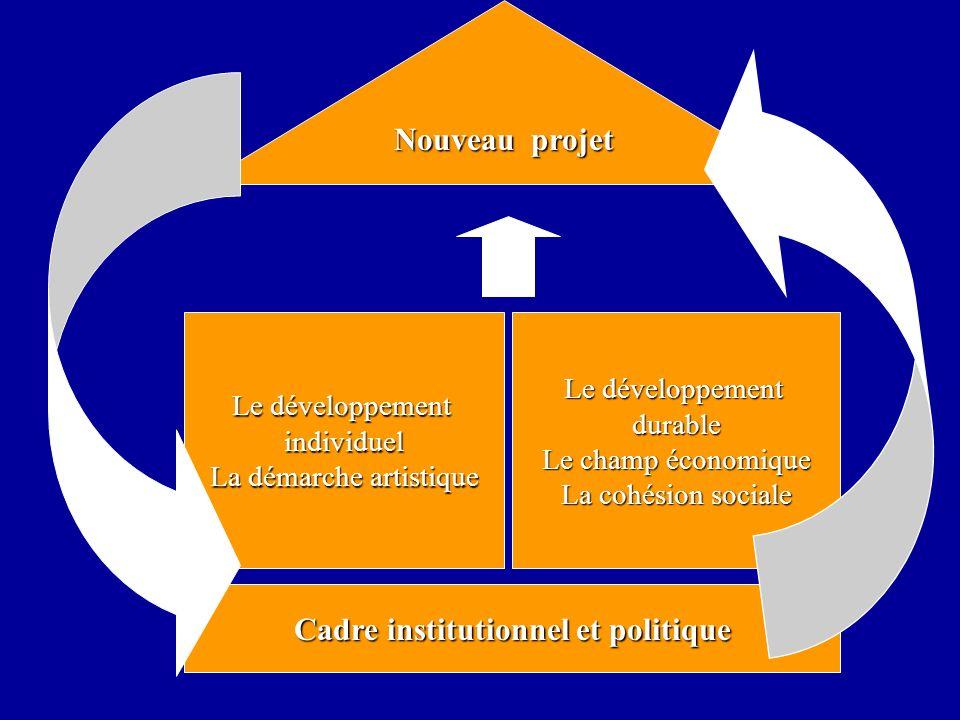 Cadre institutionnel et politique Le développement durable Le champ économique La cohésion sociale Le développement individuel La démarche artistique Nouveau projet