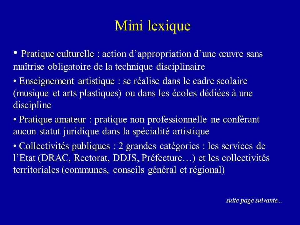 Mini lexique Pratique culturelle Pratique culturelle : action dappropriation dune œuvre sans maîtrise obligatoire de la technique disciplinaire Enseig