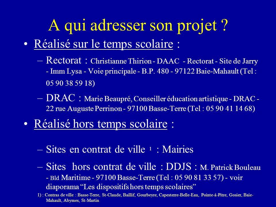 A qui adresser son projet ? Réalisé sur le temps scolaire : –Rectorat : Christianne Thirion - DAAC - Rectorat - Site de Jarry - Imm Lysa - Voie princi