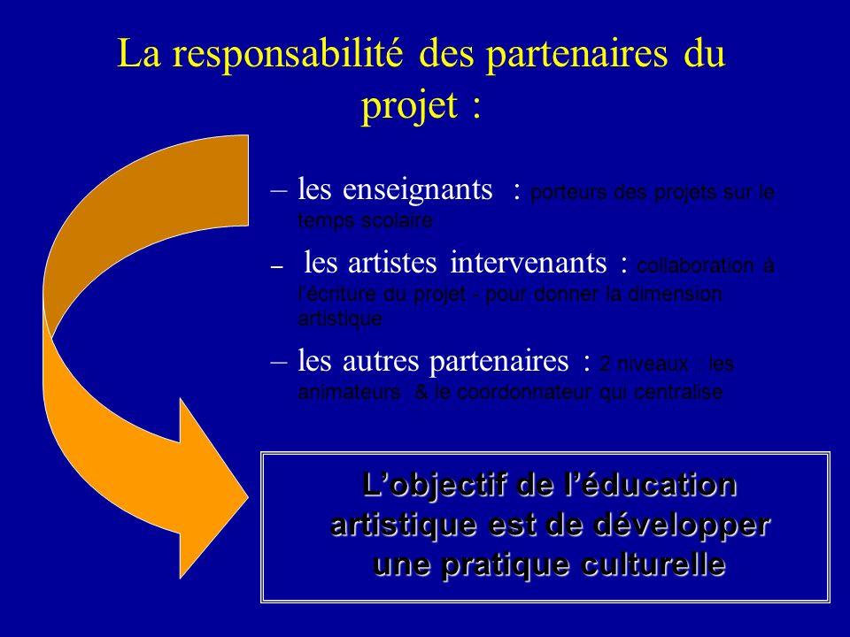 –les enseignants : porteurs des projets sur le temps scolaire – les artistes intervenants : collaboration à lécriture du projet - pour donner la dimen