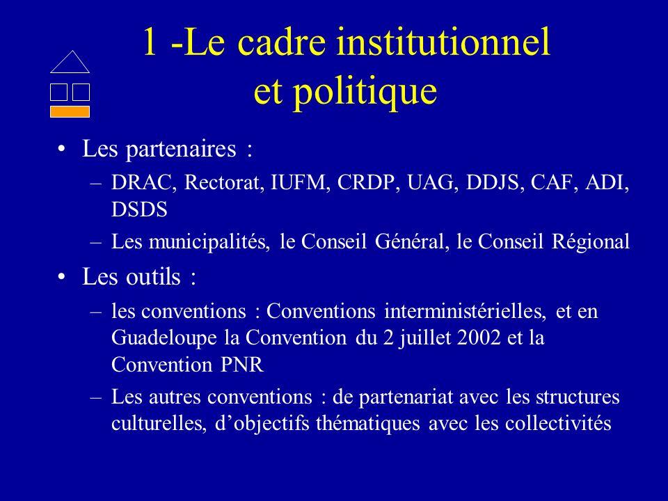 1 -Le cadre institutionnel et politique Les partenaires : –DRAC, Rectorat, IUFM, CRDP, UAG, DDJS, CAF, ADI, DSDS –Les municipalités, le Conseil Généra