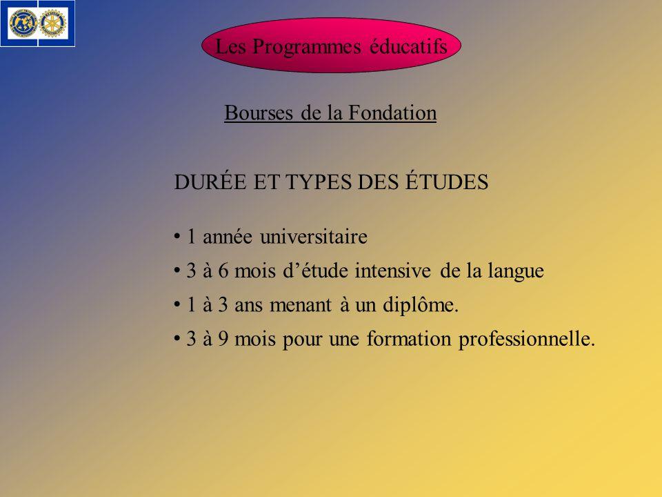 DURÉE ET TYPES DES ÉTUDES Les Programmes éducatifs Bourses de la Fondation 1 année universitaire 3 à 6 mois détude intensive de la langue 1 à 3 ans me
