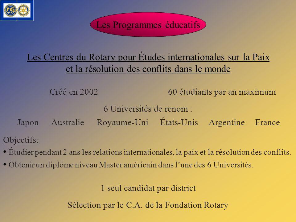 Les Programmes éducatifs Les Centres du Rotary pour Études internationales sur la Paix et la résolution des conflits dans le monde Créé en 200260 étud