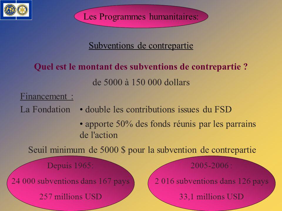 Les Programmes humanitaires: Subventions de contrepartie de 5000 à 150 000 dollars Quel est le montant des subventions de contrepartie ? Financement :