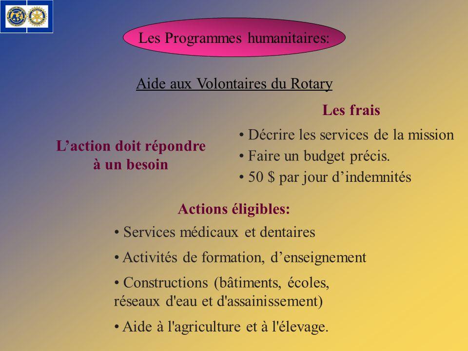 Les Programmes humanitaires: Aide aux Volontaires du Rotary Laction doit répondre à un besoin Actions éligibles: Services médicaux et dentaires Activi