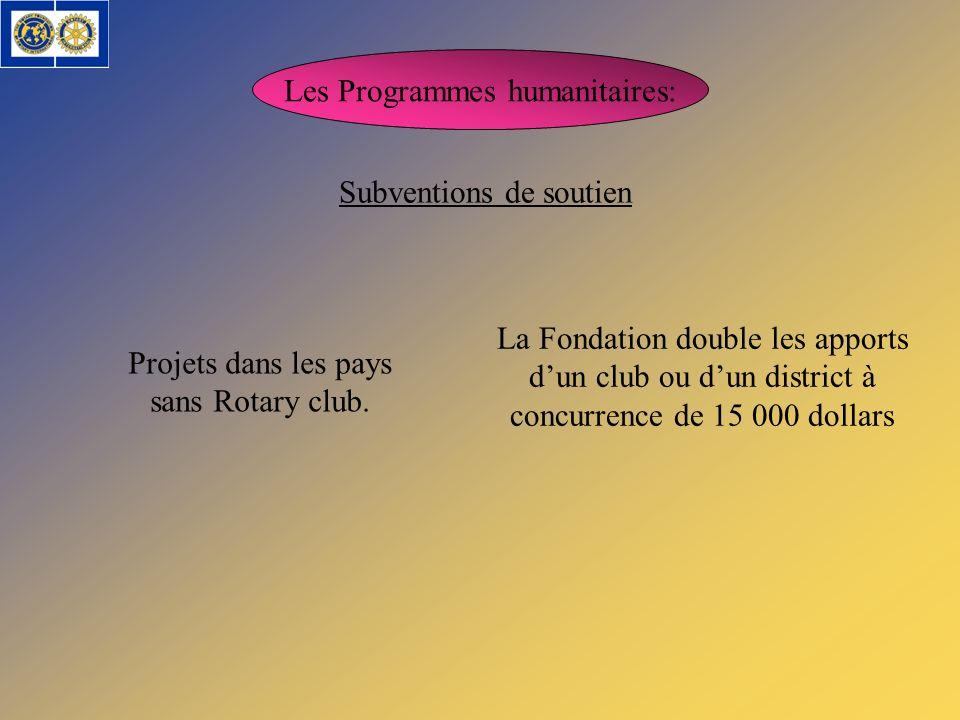 Les Programmes humanitaires: Subventions de soutien Projets dans les pays sans Rotary club. La Fondation double les apports dun club ou dun district à