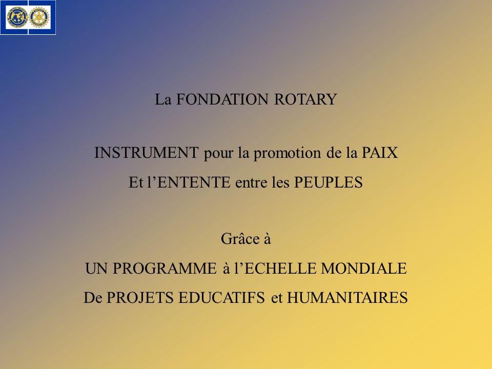 La FONDATION ROTARY INSTRUMENT pour la promotion de la PAIX Et lENTENTE entre les PEUPLES Grâce à UN PROGRAMME à lECHELLE MONDIALE De PROJETS EDUCATIF