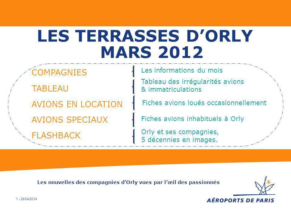 1 - 28/04/2014 LES TERRASSES DORLY MARS 2012 COMPAGNIES Les informations du mois Tableau des irrégularités avions & immatriculations TABLEAU AVIONS EN