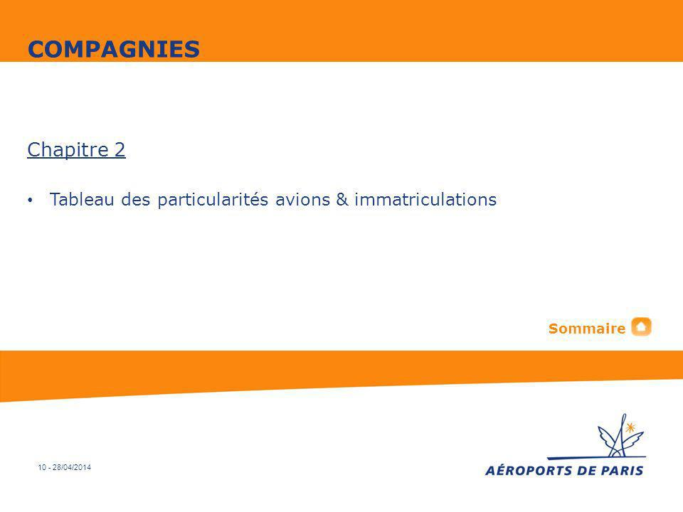 10 - 28/04/2014 Chapitre 2 Tableau des particularités avions & immatriculations COMPAGNIES Sommaire
