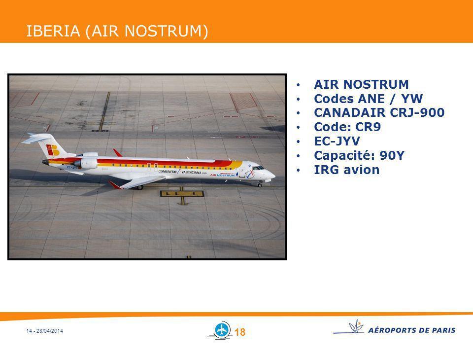 14 - 28/04/2014 IBERIA (AIR NOSTRUM) AIR NOSTRUM Codes ANE / YW CANADAIR CRJ-900 Code: CR9 EC-JYV Capacité: 90Y IRG avion 18