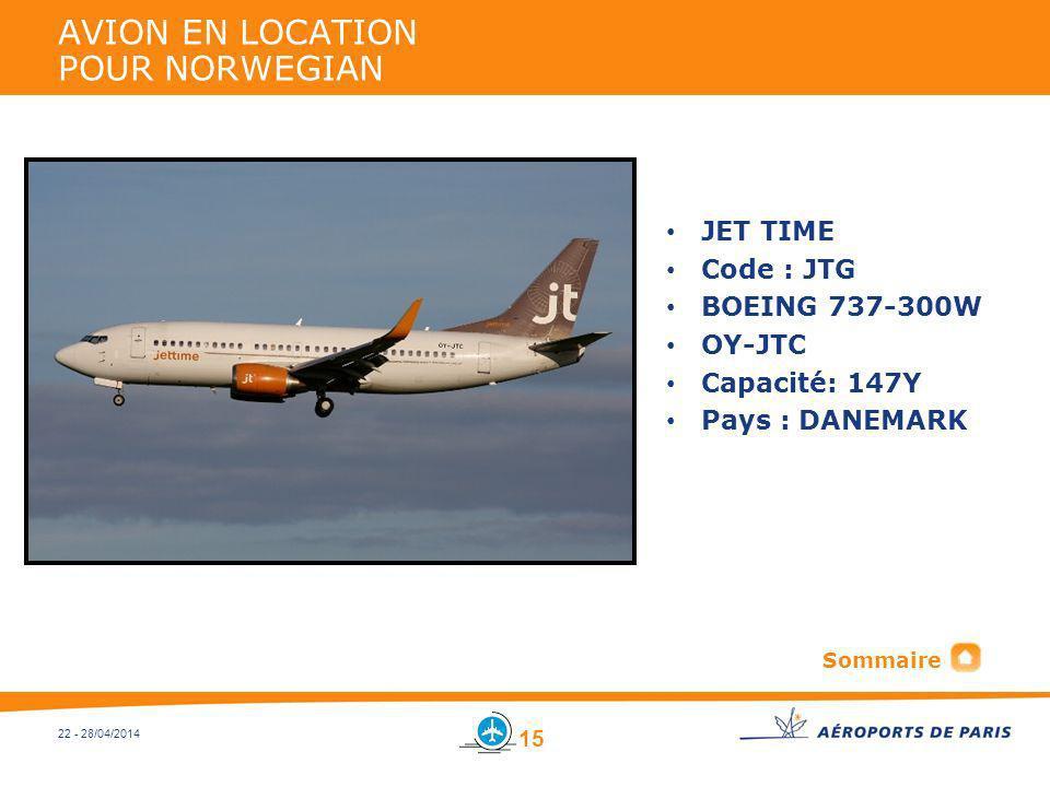22 - 28/04/2014 AVION EN LOCATION POUR NORWEGIAN JET TIME Code : JTG BOEING 737-300W OY-JTC Capacité: 147Y Pays : DANEMARK 15 Sommaire