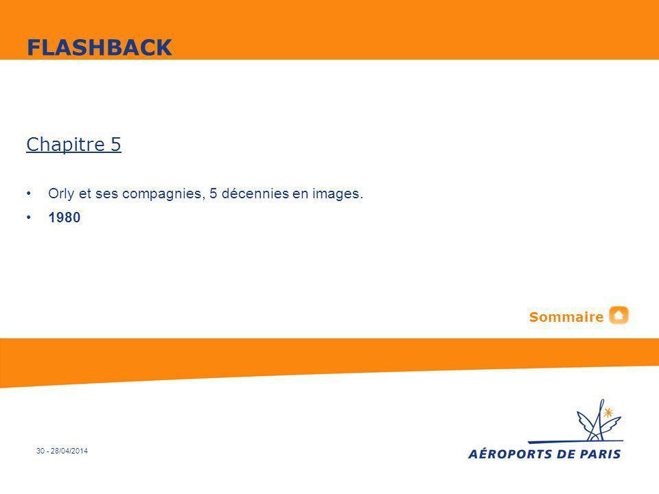 30 - 28/04/2014 Chapitre 5 Orly et ses compagnies, 5 décennies en images. 1980 FLASHBACK Sommaire