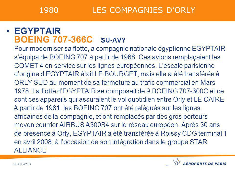31 - 28/04/2014 1980 LES COMPAGNIES DORLY EGYPTAIR BOEING 707-366C SU-AVY Pour moderniser sa flotte, a compagnie nationale égyptienne EGYPTAIR séquipa