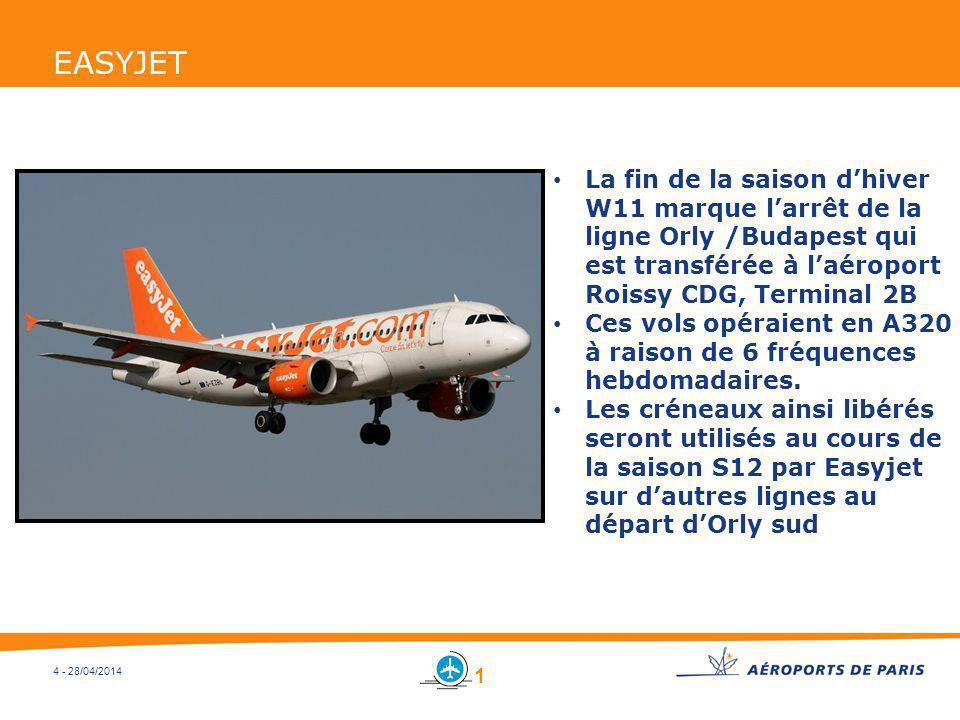 4 - 28/04/2014 EASYJET La fin de la saison dhiver W11 marque larrêt de la ligne Orly /Budapest qui est transférée à laéroport Roissy CDG, Terminal 2B