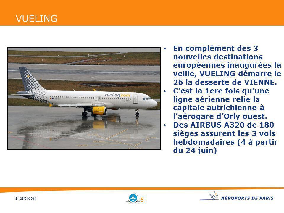 8 - 28/04/2014 VUELING En complément des 3 nouvelles destinations européennes inaugurées la veille, VUELING démarre le 26 la desserte de VIENNE. Cest