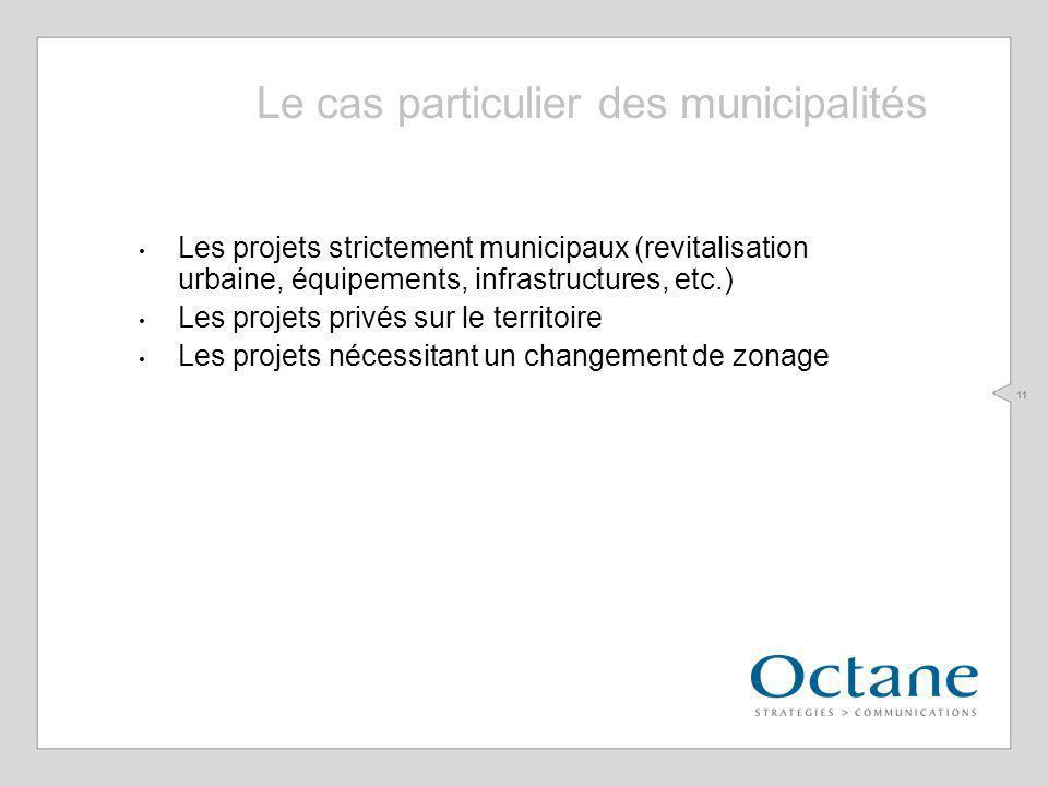 11 Les projets strictement municipaux (revitalisation urbaine, équipements, infrastructures, etc.) Les projets privés sur le territoire Les projets nécessitant un changement de zonage Le cas particulier des municipalités