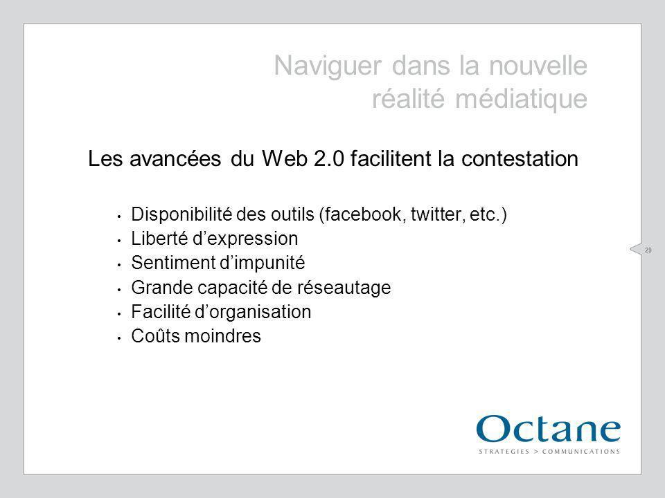29 Naviguer dans la nouvelle réalité médiatique Les avancées du Web 2.0 facilitent la contestation Disponibilité des outils (facebook, twitter, etc.)