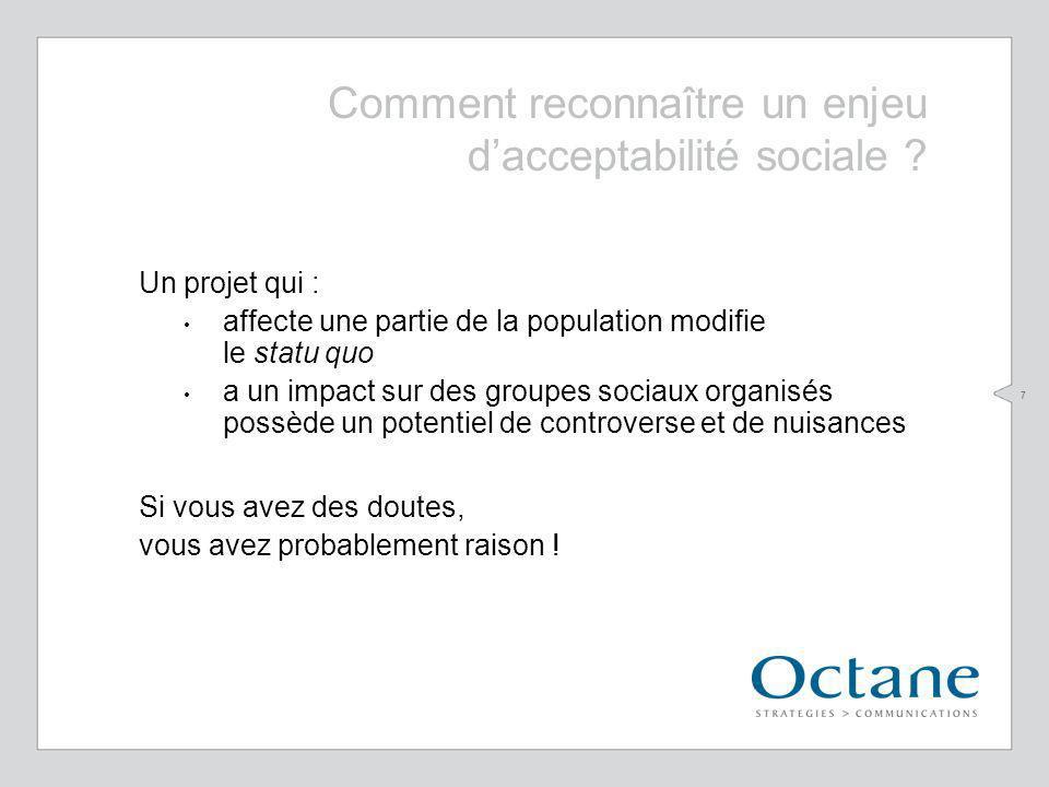 7 Comment reconnaître un enjeu dacceptabilité sociale ? Un projet qui : affecte une partie de la population modifie le statu quo a un impact sur des g