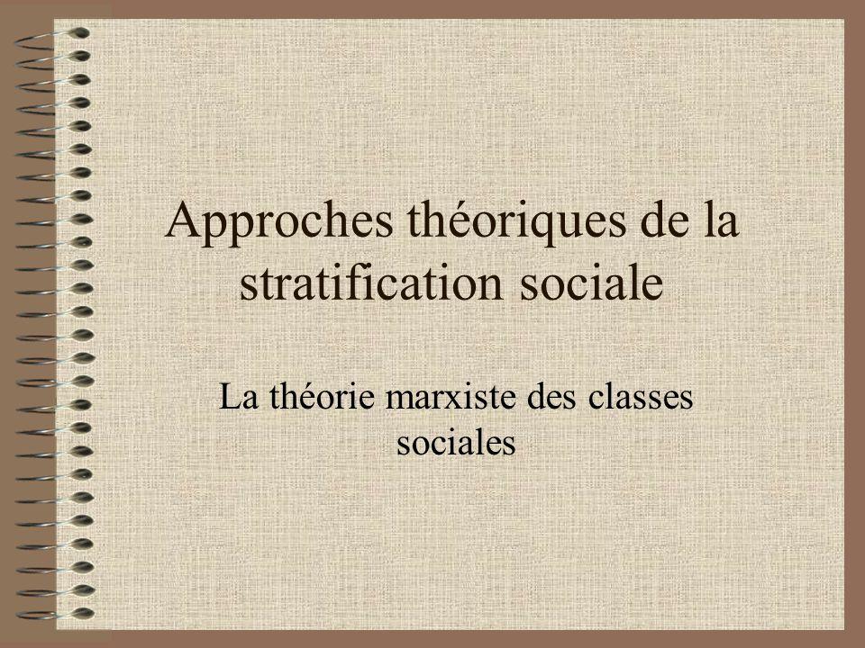 Approches théoriques de la stratification sociale La théorie marxiste des classes sociales