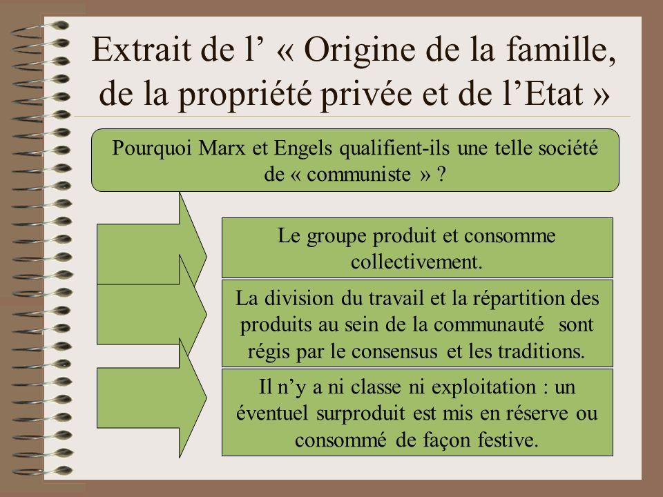 Extrait de l « Origine de la famille, de la propriété privée et de lEtat » Pourquoi Marx et Engels qualifient-ils une telle société de « communiste »