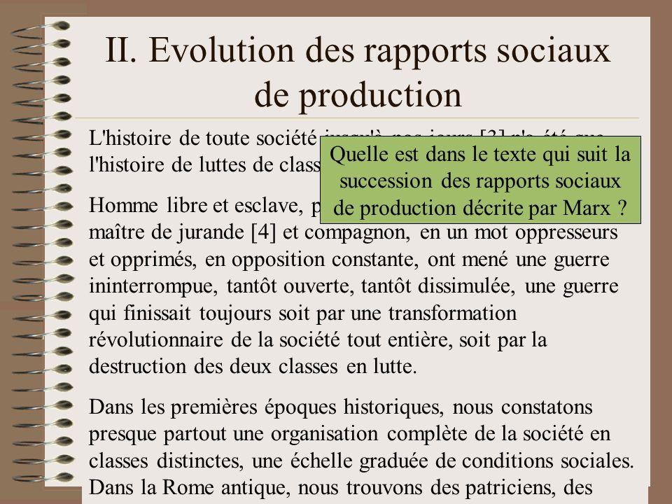 II. Evolution des rapports sociaux de production L'histoire de toute société jusqu'à nos jours [3] n'a été que l'histoire de luttes de classes. Homme