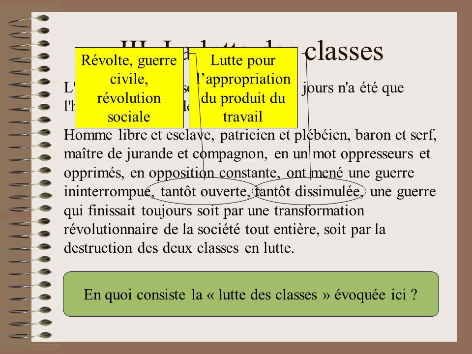 III. La lutte des classes L'histoire de toute société jusqu'à nos jours n'a été que l'histoire de luttes de classes. Homme libre et esclave, patricien