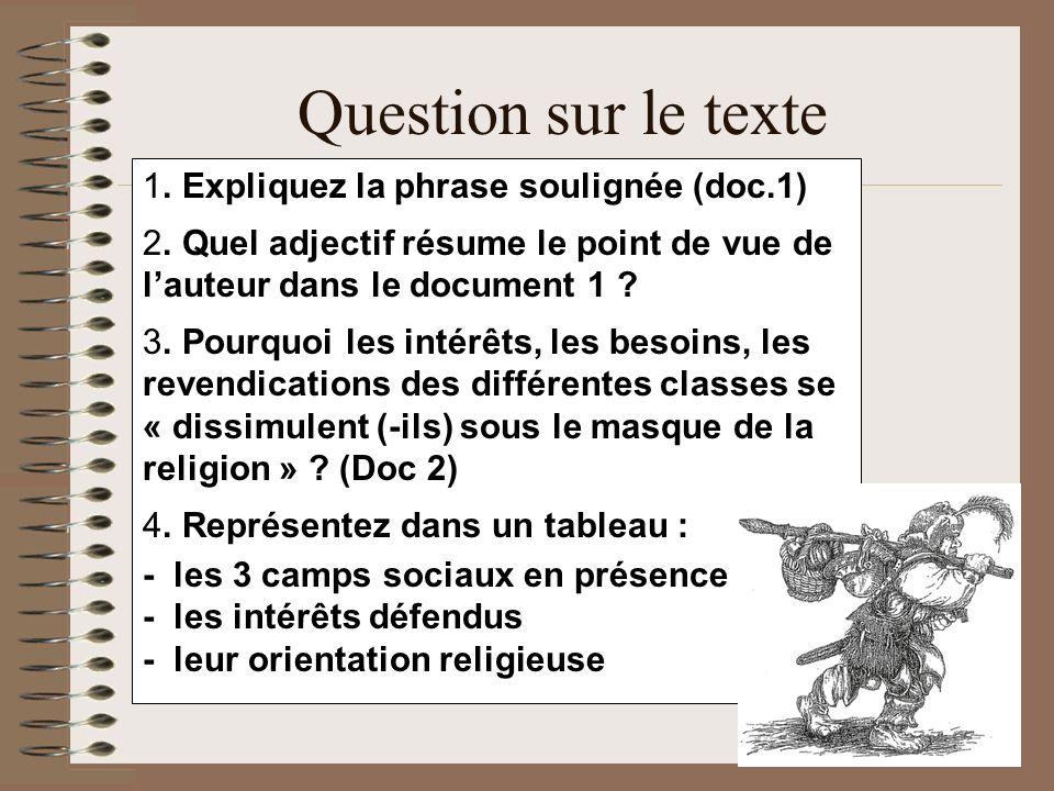 Question sur le texte 1. Expliquez la phrase soulignée (doc.1) 2. Quel adjectif résume le point de vue de lauteur dans le document 1 ? 3. Pourquoi les