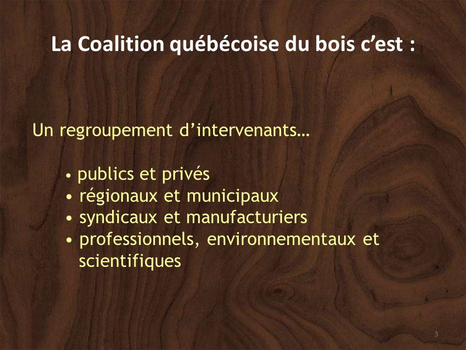 3 La Coalition québécoise du bois cest : Un regroupement dintervenants… publics et privés régionaux et municipaux syndicaux et manufacturiers professionnels, environnementaux et scientifiques