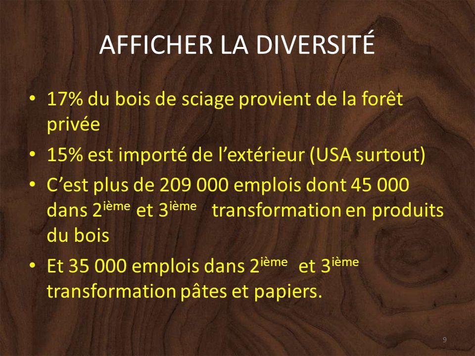 AFFICHER LA DIVERSITÉ 17% du bois de sciage provient de la forêt privée 15% est importé de lextérieur (USA surtout) Cest plus de 209 000 emplois dont 45 000 dans 2 ième et 3 ième transformation en produits du bois Et 35 000 emplois dans 2 ième et 3 ième transformation pâtes et papiers.