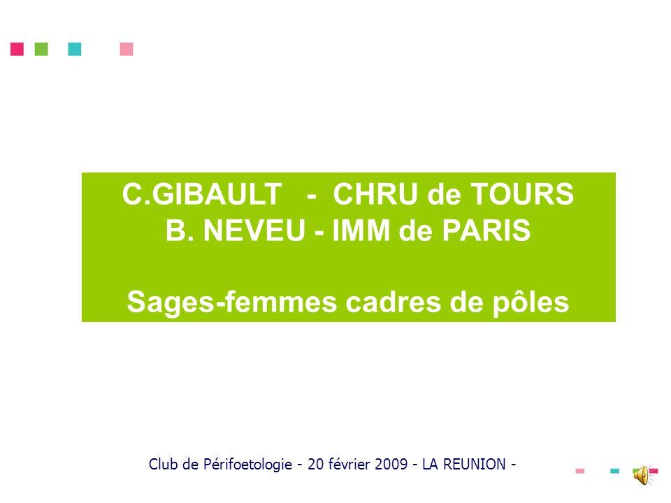 C.GIBAULT - CHRU de TOURS B. NEVEU - IMM de PARIS Sages-femmes cadres de pôles Club de Périfoetologie - 20 février 2009 - LA REUNION -