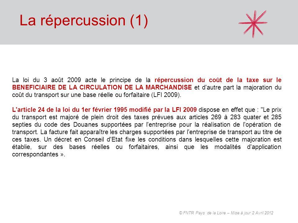 La répercussion (1) La loi du 3 août 2009 acte le principe de la répercussion du coût de la taxe sur le BENEFICIAIRE DE LA CIRCULATION DE LA MARCHANDI