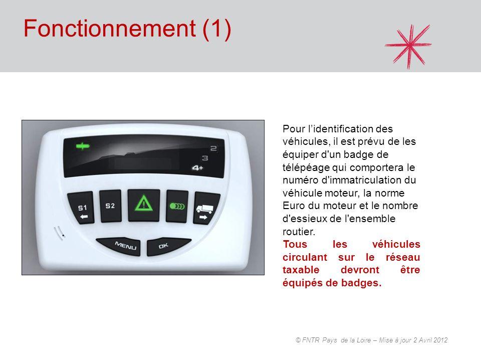 Fonctionnement (1) Pour lidentification des véhicules, il est prévu de les équiper d'un badge de télépéage qui comportera le numéro d'immatriculation