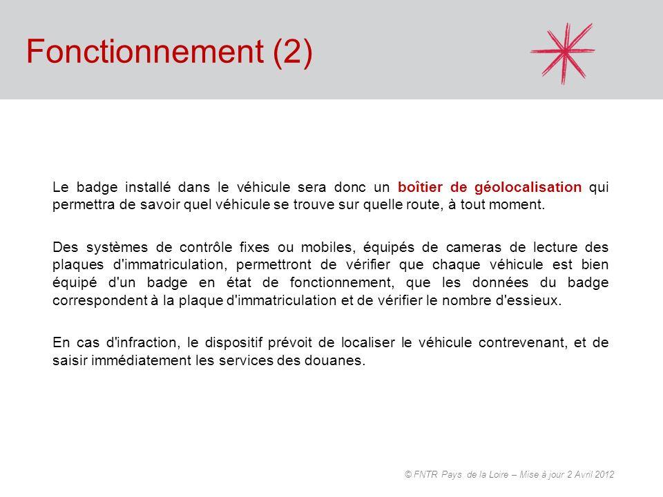 Fonctionnement (3) FNTR Pays de la Loire - 20 Février 2012 Zone couverte par le GPSZone non-couverte par le GPS Balise DSRC Passage du véhicule au péage virtuel Détection de lO.B.U.