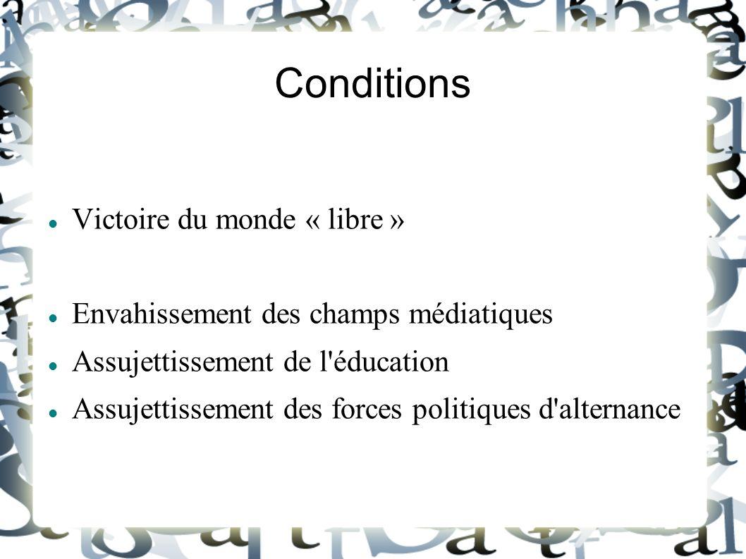 Conditions Victoire du monde « libre » Envahissement des champs médiatiques Assujettissement de l'éducation Assujettissement des forces politiques d'a