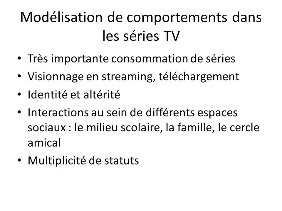 Modélisation de comportements dans les séries TV Très importante consommation de séries Visionnage en streaming, téléchargement Identité et altérité I