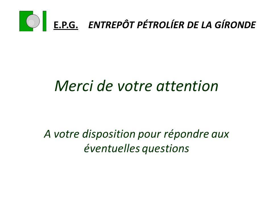 Merci de votre attention A votre disposition pour répondre aux éventuelles questions E.P.G. ENTREPÔT PÉTROLÍER DE LA GÍRONDE