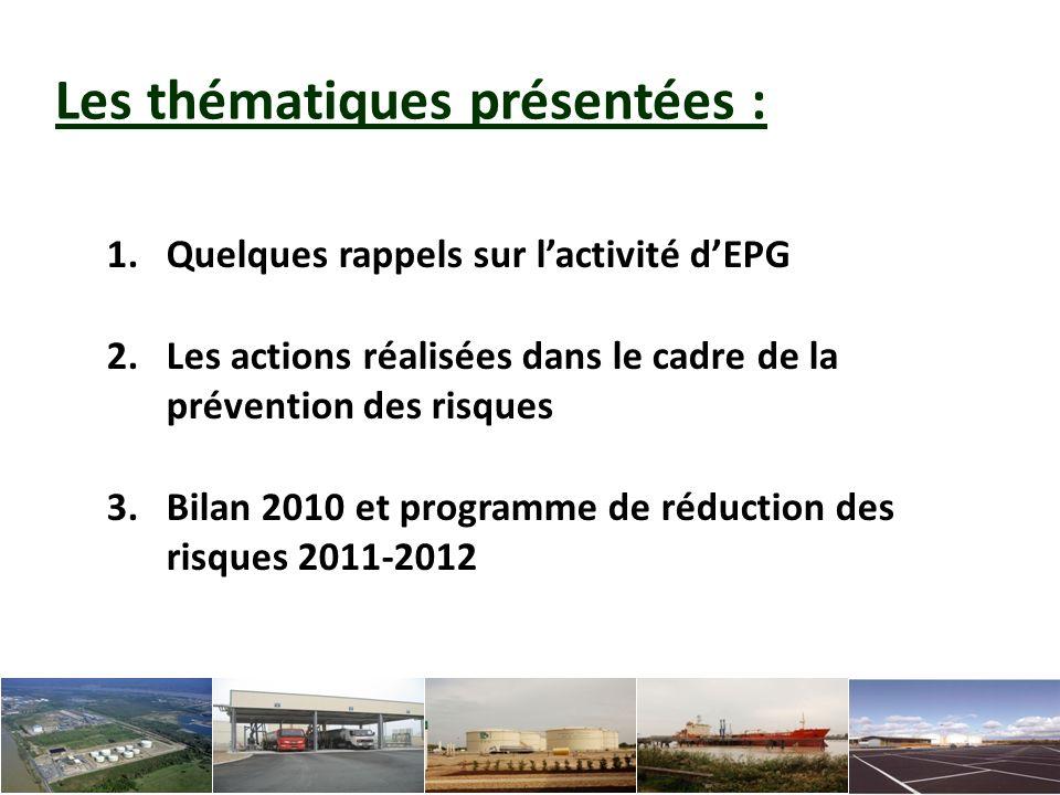 1.Quelques rappels sur lactivité EPG : Dépôt dhydrocarbures qui approvisionne près de 700 stations-service de grandes et moyennes surfaces du grand Sud-ouest (Aquitaine, Poitou- Charentes, Midi-Pyrénées, Limousin, Auvergne).