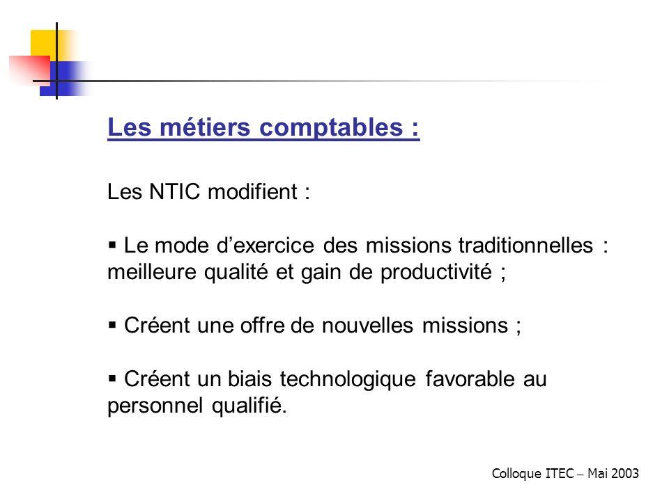 Colloque ITEC – Mai 2003 Les métiers comptables : Les NTIC modifient : Le mode dexercice des missions traditionnelles : meilleure qualité et gain de p