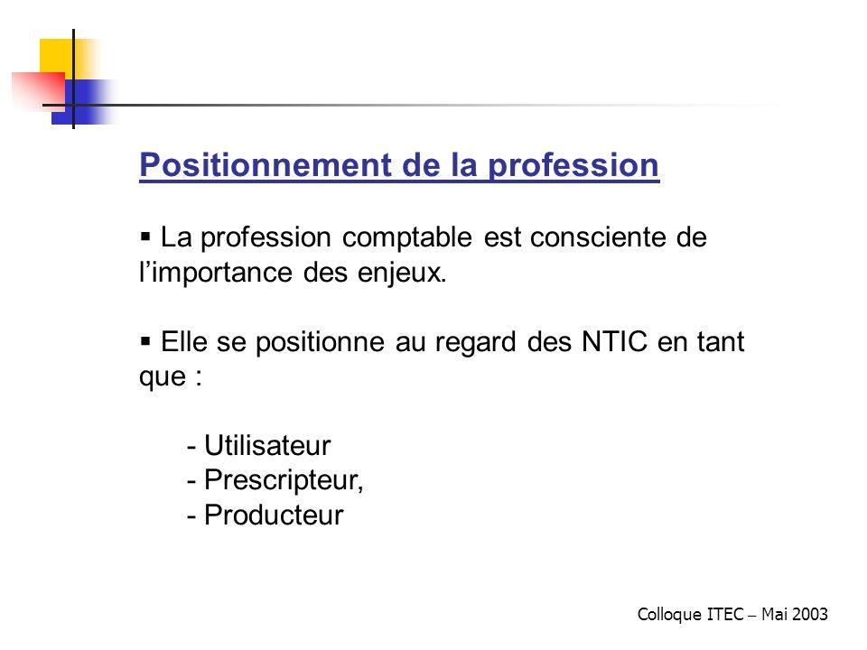 Colloque ITEC – Mai 2003 Positionnement de la profession La profession comptable est consciente de limportance des enjeux. Elle se positionne au regar
