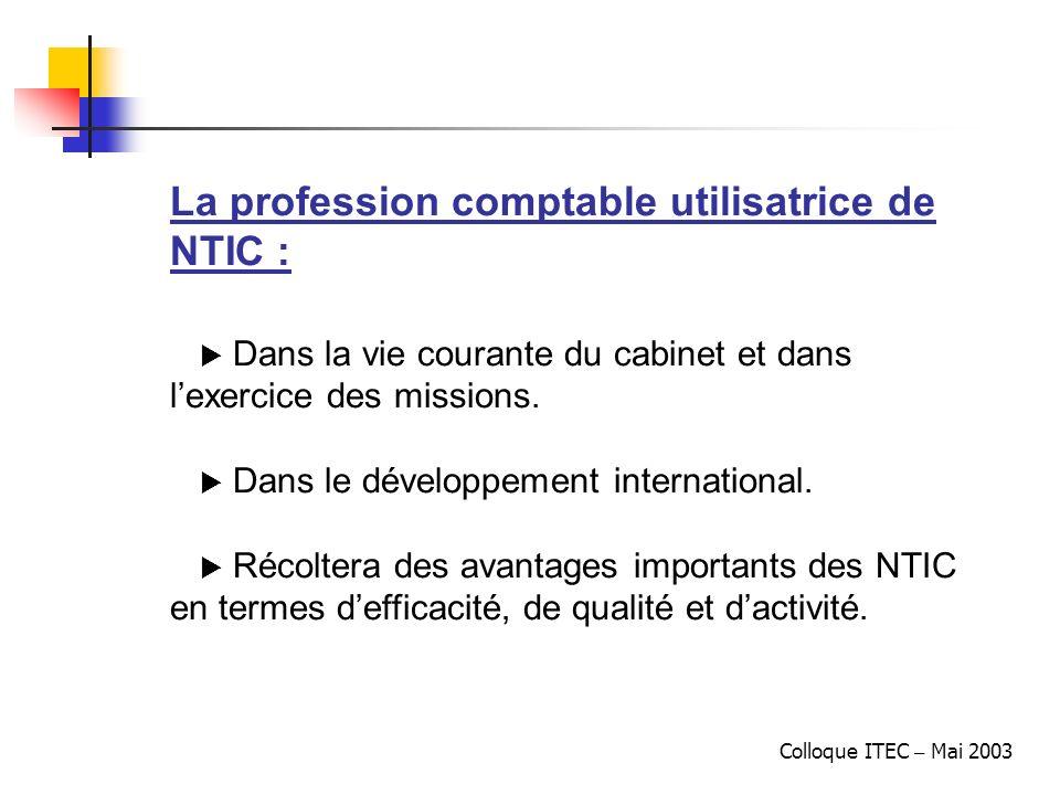 Colloque ITEC – Mai 2003 La profession comptable utilisatrice de NTIC : Dans la vie courante du cabinet et dans lexercice des missions. Dans le dévelo