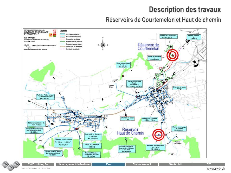FO 303.5 / version 01 / 01.11.2008 www.rwb.ch Aménagement du territoire RWB Holding SA Eau Génie civilSIT Environnement Description des travaux Réserv