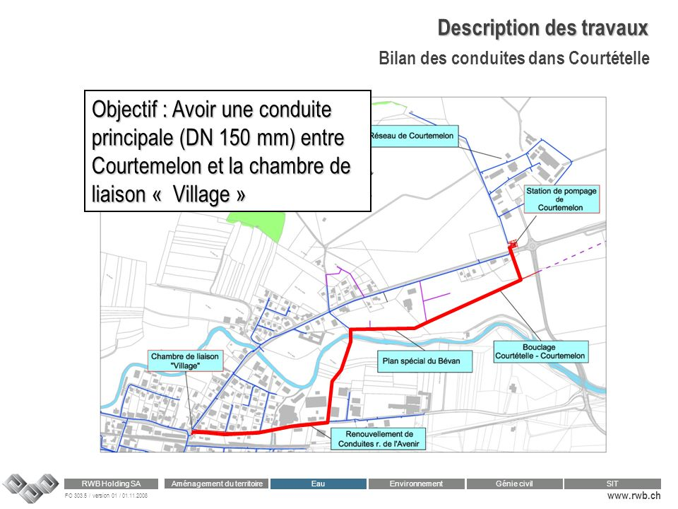 FO 303.5 / version 01 / 01.11.2008 www.rwb.ch Aménagement du territoire RWB Holding SA Eau Génie civilSIT Environnement Description des travaux Bilan