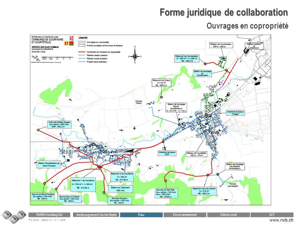 FO 303.5 / version 01 / 01.11.2008 www.rwb.ch Aménagement du territoire RWB Holding SA Eau Génie civilSIT Environnement Forme juridique de collaborati